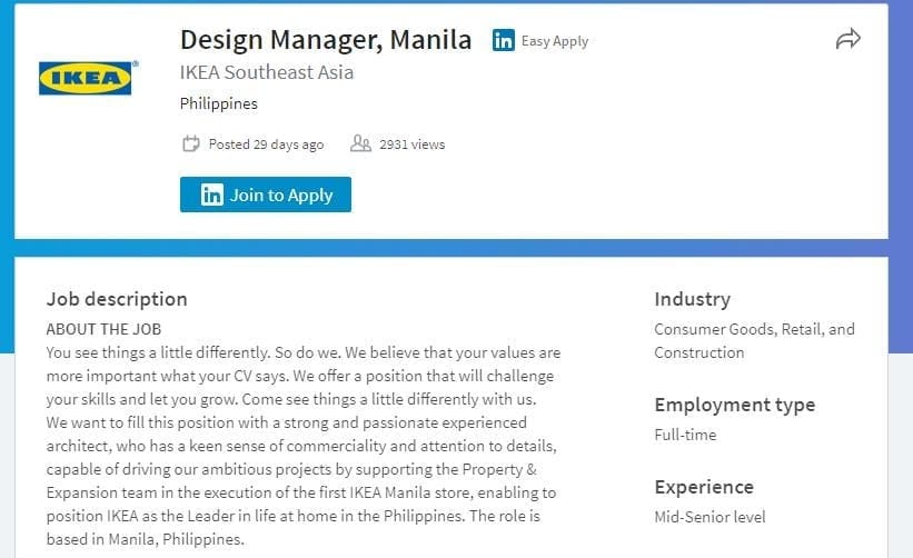 IKEA to open stores in Philippines, looking for designer